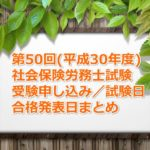 第50回(平成30年度)社労士試験の受験案内(申し込み期間、試験日、合格発表日など)